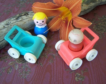 Vintage Toy Lot of Four pieces 1972 Fisher Price Strollers Little People Stroller in Red and Turquoise Blue