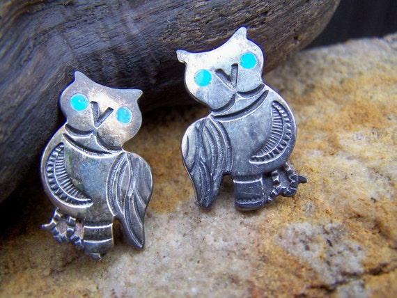 Vintage Indian Made Sterling Owl Brooch, Jewelry Navajo Sterling and Turquoise Owl Brooch Two, on sale was 34.00