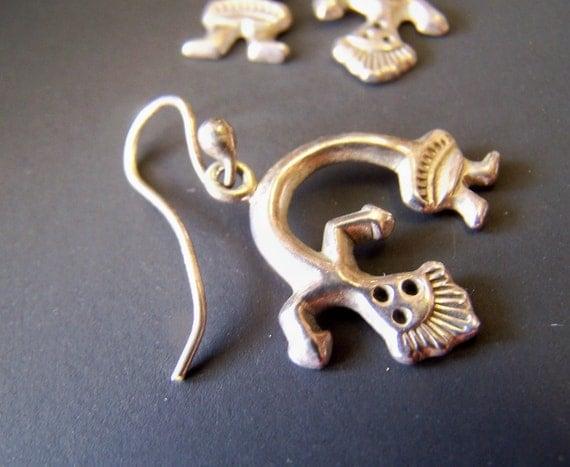 Reserve - Vintage Earrings, American Indian Made Sterling Earrings Navajo Yeii Spirit Rainbow Man on sale was 24.00