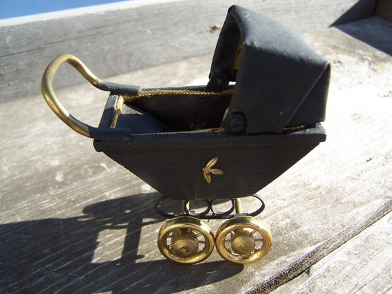 vintage Betty Magel Black Carriage ,Artisan made Collector Miniature Baby Buggy, Nanny Stroller