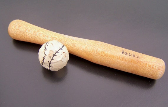 Vintage Miniature Wooden Bat and Paper Ball Made in Japan 1950s 3 pieces