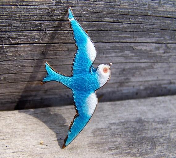 Vintage Estate Jewelry , French Blue Bird Guilloche Enamel Brooch , Blue Bird of Happiness