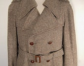 The Game's Afoot Tweed Coat Vintage 70's Wool Belted Double Breast Epaulets Mens 44 S M 40's Style Noir Trench Overcoat