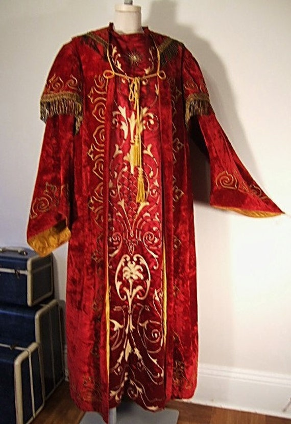 Antique 1900s Secret Society Red Velvet Robe Coat Gold Bullion