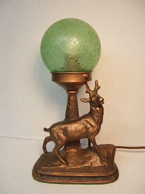 Antique Stag Lamp Figural Metal Buck Lamp Green Crackle Glass