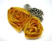 Reserved for Sarah - Sale- Mustard Rosette and Feather Pin