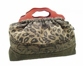 Sale - Last One - The Knitting Bag - Leopard Brown and Green Tapestry