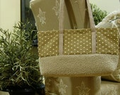 Reserved for Lynne - Sale - The Daytimer - One of a kind neutral dot handbag