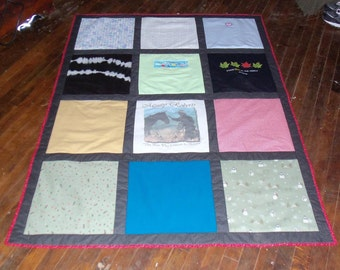 Christmas Tshirt Quilt made from 12 of Your Own Shirts