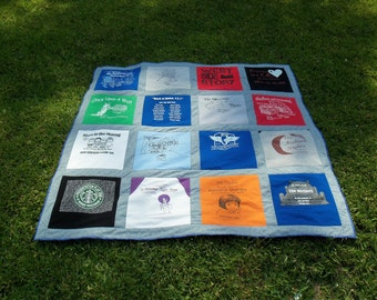 Memory Quilt out of 16 of Your Old Tshirts or Scrubs- Recycle and Go Green