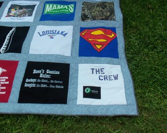 Custom Queen Size Tshirt Memory Quilt made with your own Tshirts with Gray or Blue fabric