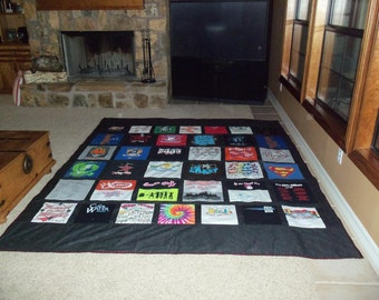Tshirt Memory Quilt made with your own Tee Shirts 25 to 30 for a Queen Size Quilt