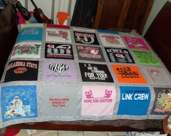 Think Valentines Day Gift Create Your Personalized Custom  Tee Shirt Quilt using 25 of your own Tshirts