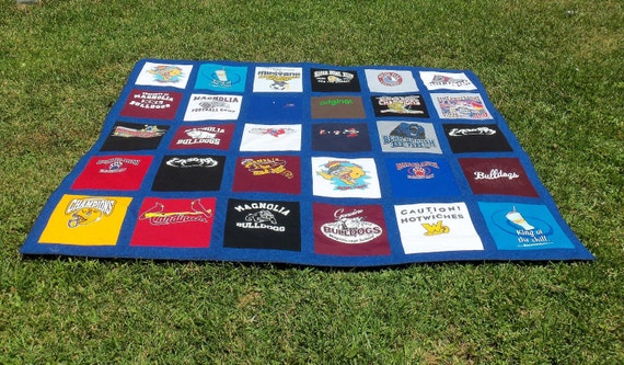 Custom  Full Size Tshirt Memory  Quilt made with your own 25 Tshirts