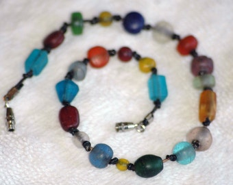 Rainbow Beads and Leather Anklet