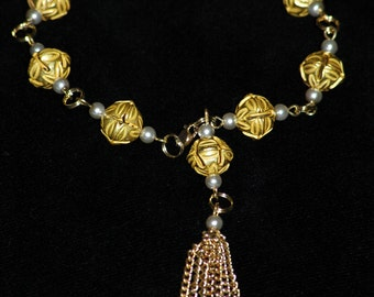 Gold and Pearl Tassel Bracelet
