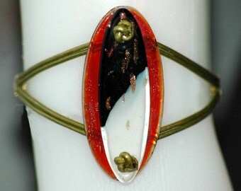 Eclipse Lampwork and Leather  bracelet