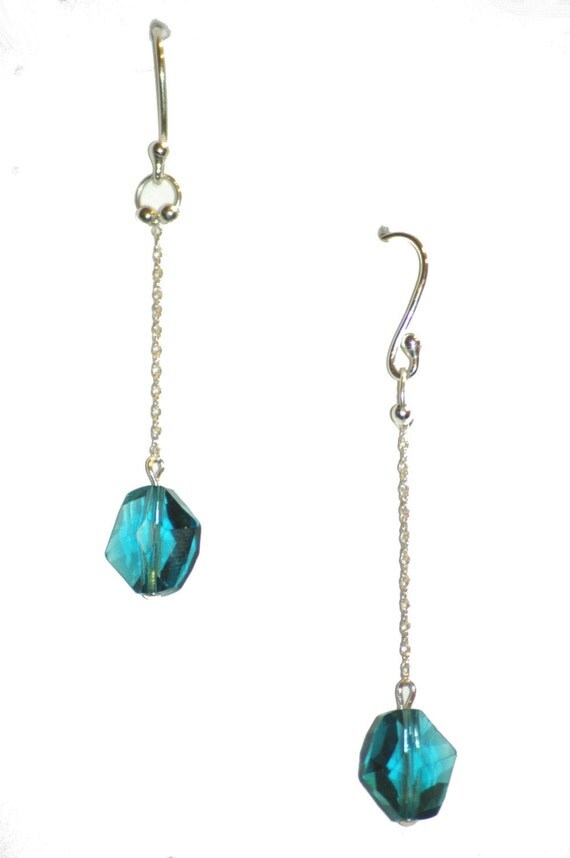 items similar to teal dangle earrings on etsy
