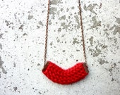 Knit Copper Necklace Winter Collection Ruby Red