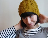 Autumn Forest Cable Beanie - Mustard Yellow ~SUMMER SALE!