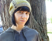 Slouchy Henley Buttoned Knit Hat - Grey/Yellow Stripes