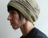 Parker Ridge Hand Knit Cloche - Stone Grey with Yellow