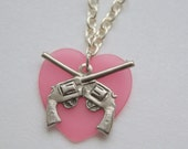 Gun with Pink Heart Necklace SALE