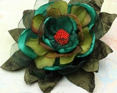 One of a Kind Hand Sewn Flower Brooch / Fascinator in Emerald Green, Olive & Red - Ready to Ship - Handmade by VividColors