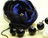 Nuit Parisiennes - Romantic  One of a Kind Flower Necklace in Jet Black & Night Blue - Ready to Ship - Handmade - by VividColors