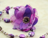 Mystic Blossom - Romantic One of a Kind Flower Necklace in Purple & Violet - Ready to Ship - Handmade by VividColors