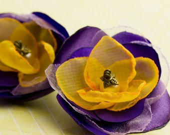 Jewelry Brooch Yellow & Purple Chiffon Flower Bridesmaids Gift Romantic Elegant Flirty Spring Summer Handmade by Vividcolors