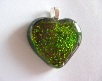 Autumn Leaves glass heart  - green fused glass pendant, romantic valentine's day fall jewelry glitter heart
