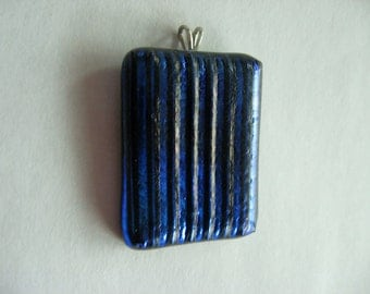 Dichroic glass pendant - dark blue pendant violet fused glass jewelry stripes