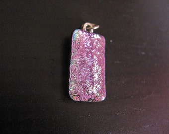 Dichroic glass pink pendant - Pink Crackle cracked glass, rave neon jewelry, small glass pendant