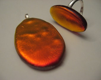 Red glass ring and pendant matching set dichroic glass autumn jewelry set metallic