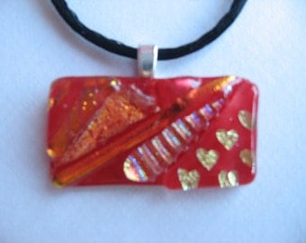 Ruby Fusion - romantic jewelry, red fused dichroic glass geometric pendant, heart pendant
