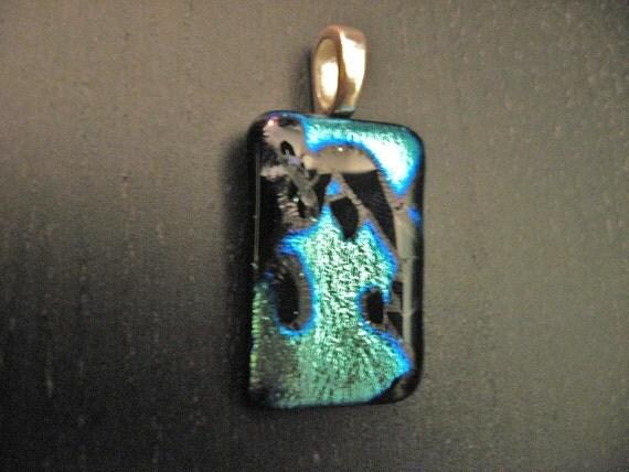Black Nebula galaxy sci fi turquoise fused dichroic green glass pendant geeky space jewelry