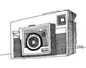 Instamatic X35 camera illustration print