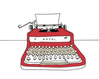 Red Royal Typewriter illustation print