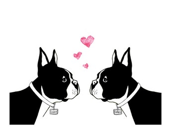 Custom Boston Terriers in Love art print - personalized name dog tags