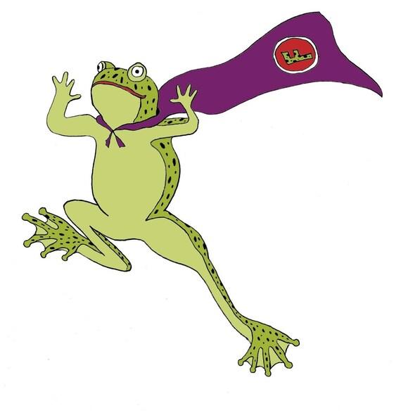Flying Super Frog print Nursery Art
