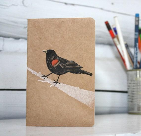 Red-winged blackbird Gocco printed moleskine notebook