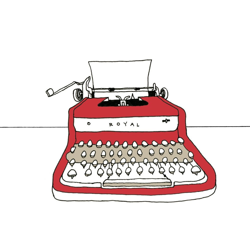 Red Royal Typewriter illustation print