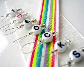 LAST SETS - I Heart Socks - Six Snag Free Stitch Markers - Fits Up to 5.5 mm (9 US) - Limited Edition