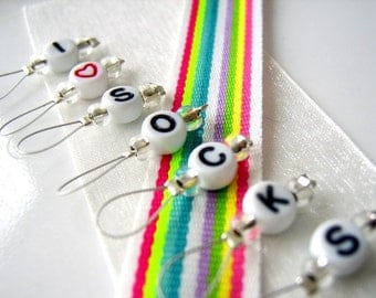I Heart Socks - Six Snag Free Stitch Markers - Fits Up to 5.5 mm (9 US) - Limited Edition