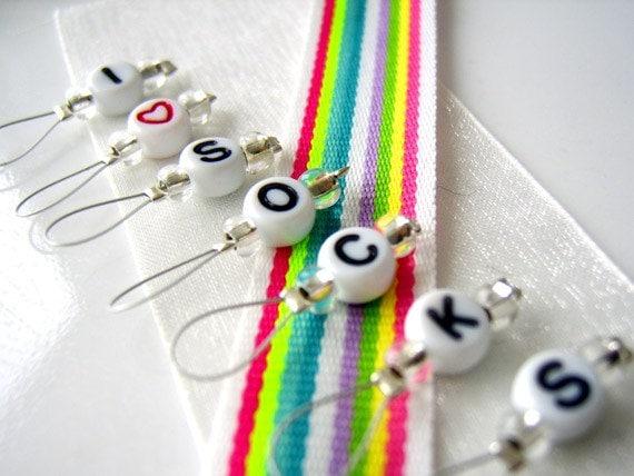 I Heart Socks - Six Snag Free Stitch Markers - Fits Up to 5.5 mm (9 US) - Last Set
