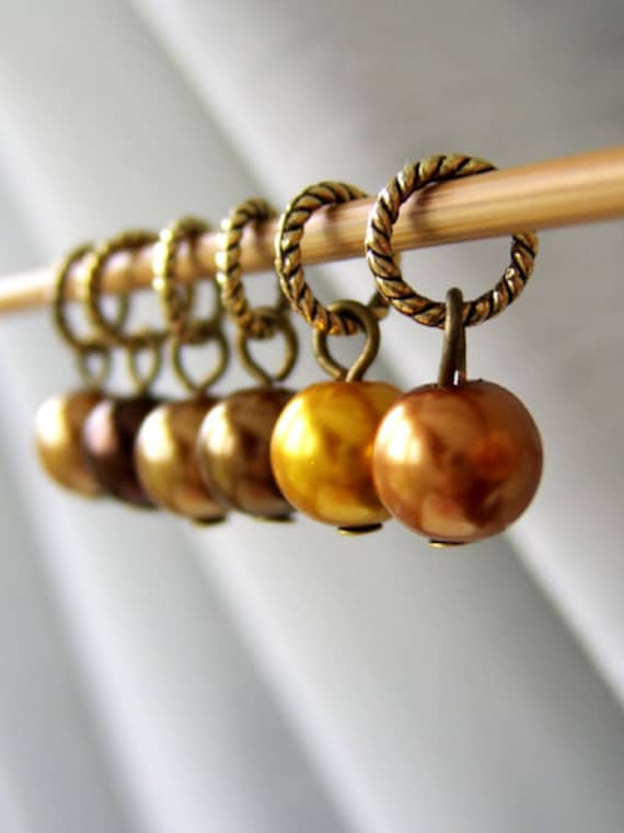 Willy Wonka's Chocolate Butterscotch Ripple - Six Handmade Stitch Markers - Fits Up To 5.0 mm (8 US) - Limited Edition