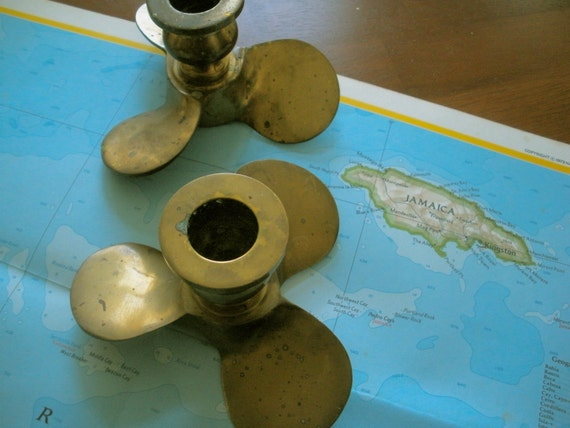 Pair of Vintage Brass Nautical Candle holders