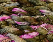 Pure wool yarn, worsted weight, hand dyed olive and pink
