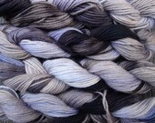 Pure wool yarn worsted weight, hand dyed charcoal and gray